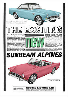 Sunbeam Alpine Retro A3 Poster Print From Classic 1964 Advert