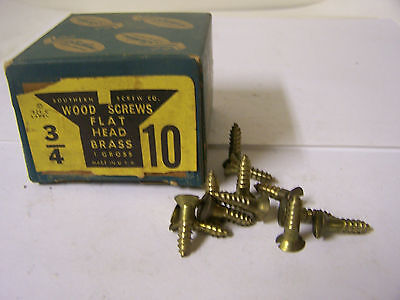 """#10 x 3/4"""" Flat Head Solid Brass Wood Screws Slotted Made in USA Qty. 144"""