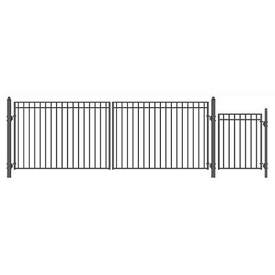 ALEKO Madrid Style 18' Single Black Driveway Gate + Pedestrian Gate