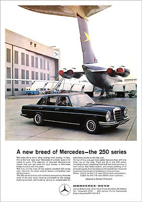 Mercedes 250S 250Se W108 Retro A3 Poster Print From Classic 60's Advert