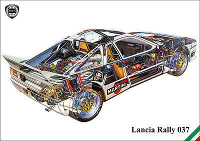 Lancia 037 Group B Rally Car Detailed Cutaway Image A3 Size Poster Print