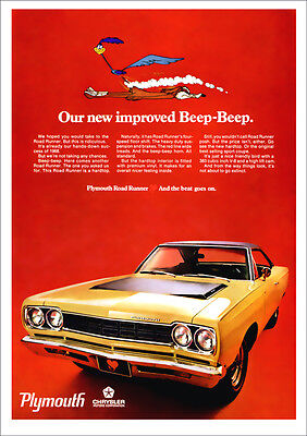 Plymouth Road Runner 68 Mopar Retro A3 Poster Print From Advert 1968