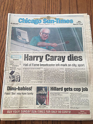 Harry Caray Dies Original 1998 Chicago Sun Times Newspaper Chicago Cubs
