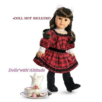 NEW AMERICAN GIRL SAMANTHA'S Christmas Holiday Set Red Plaid Dress Tea Set