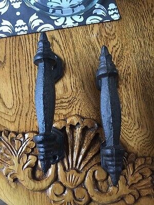 "Pair Of Rustic Cast Iron Cabinet Pull, 4 7/8"" Hole To Hole Small Cabinet Pulls"