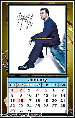 The 2017, George Michael, Signed. MINI MAGNETIC CALENDAR. Limited Edit (MAG-75)a