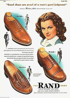 1947 Barbara Hale of Perry Mason Rand shoes for men photo print Ad 10x13