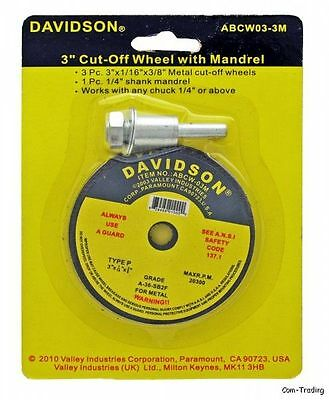 """3-Pack 3"""" Cut-Off Discs Wheels & 1/4"""" Mandrel For Metal Cutting Grinds Welds"""