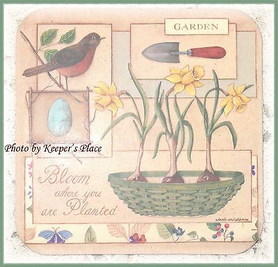 4 Longaberger Coasters BLOOM WHERE YOU ARE PLANTED Garden Basket New Rare
