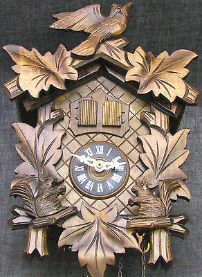 Vintage Musical CucKoo Clock Running with Animated Squirrels Rocking