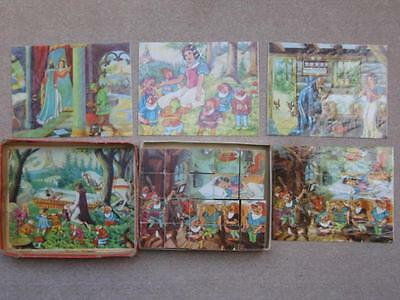 Vintage Wooden Block Jigsaw Puzzle Of Snow White And Seven Dwarfs - Complete