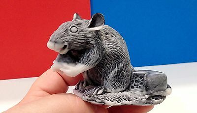 Rat figurine marble chips handmade Souvenirs Russia small rodent cheese