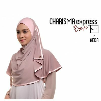 Brown & Peach Charisma  Instant Hijab Khimar Amira One Piece Slip On Scarf Abaya