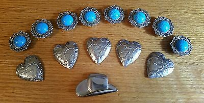 Western Turquoise Button Cover Cowboy Hat Heart Lot of 14 Vintage Apparel Rodeo