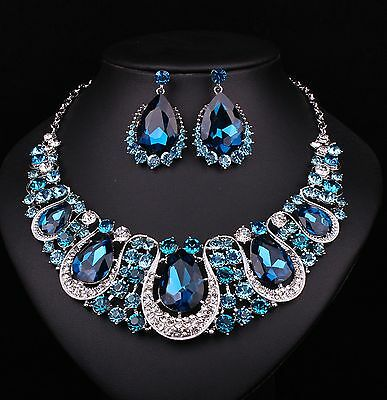 Indian Jewellery Sapphire Crystal Necklace Earrings Bridal Jewelry Set Lake Blue