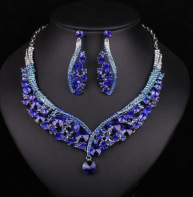 Indian Jewellery Sapphire Crystal Necklace Earrings Bridal Jewelry blue beauty