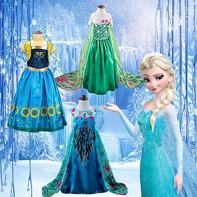 Frozen Baby Girls Anna Elsa Dress Queen Girls Cosplay Costume Party Dresses AA88