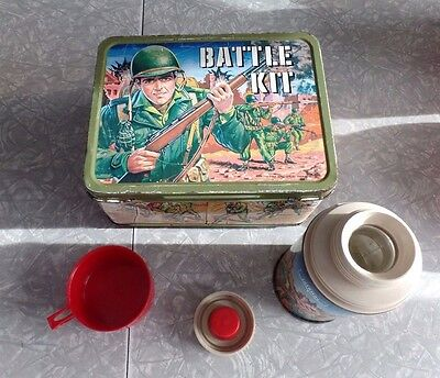 "Vintage (1965) ""battle Kit"" Metal Lunch Box With Bonus Matching Thermos"