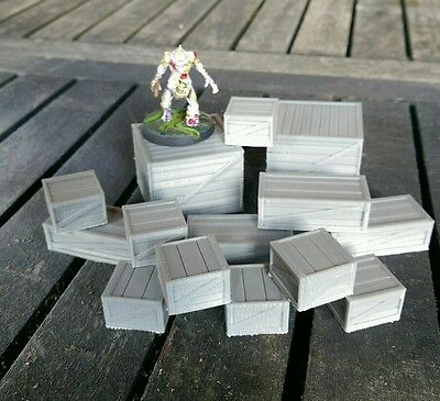 SCENERY 14 28mm scale wooden crates - Ideal for 40K, Necromunda, Malifaux etc..