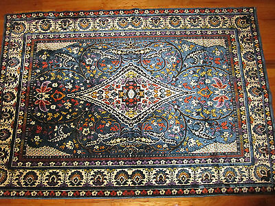"""vintage large wall tapestry with intricate floral design mostly blue  46"""" x 67"""""""