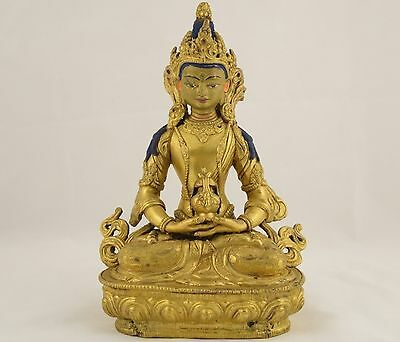 Antique Heavy Gilt Bronze Buddhism Buddha Hindu Nepalese Statue God Aparmita