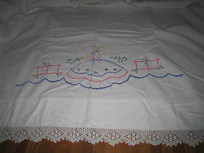 "Vintage Embroidered Bed Sheet 76"" x 84"" White Cotton with Crocheted Edging  21K3"