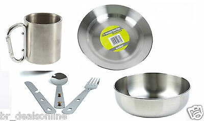 Stainless steel Plate, Bowl, carabiner Mug  & Cutlery set 4in1 Camping Picnic