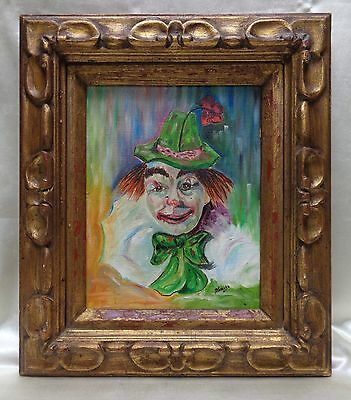 Signed Betty Smith Vintage Clown Portrait Oil Painting on Canvas Panel (Framed)