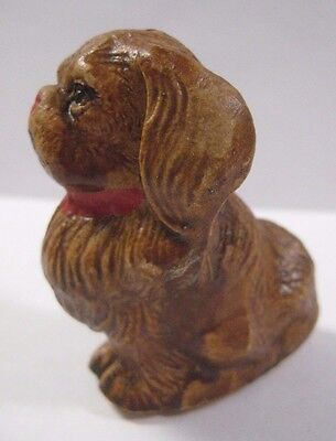 Vintage PEKINGESE Dog Figurine JAPAN Brown Resin Ceramic Painted Red Bow 2.25""