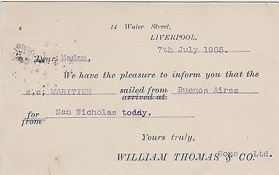 Shipping Postcard. William Thomas, Liverpool. SS Maritime Buenos Aires. 1905