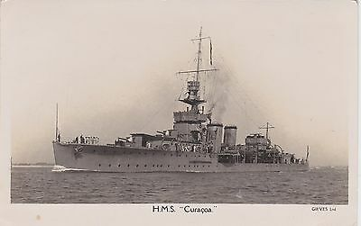 Royal Navy Real Photo. HMS Curacoa. Light cruiser. Mailed by crew member! 1938