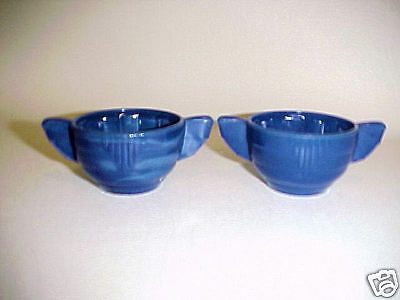 Akro Agate Child Tea Set Large Concentric Ring Royal Blue Sugar Base
