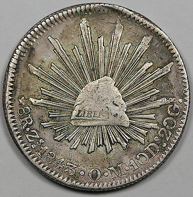 """Mexico 1843 Zs OM """"CAP AND RAYS"""" 8 Reales Silver Coin VF Early Date"""