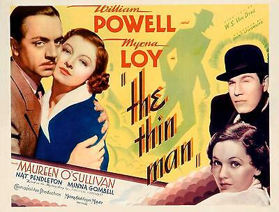 WILLIAM POWELL & MYRNA LOY * THE THIN MAN * great close-up * 11x14 HS print 1934