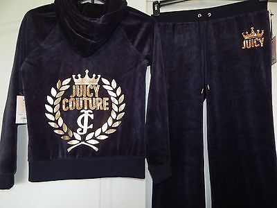 New Juicy Couture Foiled Leaf Sequin Logo Hoodie & Bootcut Pants Set Blue Xl / L
