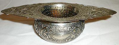 Antique Ornated Silver Plated 2-Pcs Set Tea Strainer With Dripping Cup Holder
