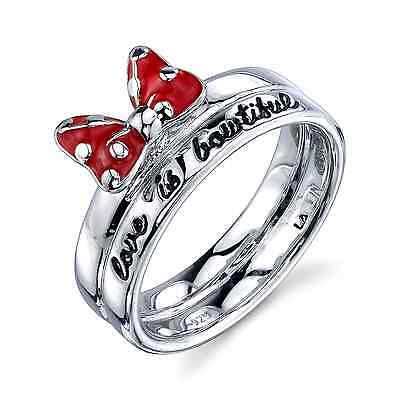 Disney Minnie Mouse Sterling Silver 'love Is Bowtiful' Red Enamel  Band Ring 6