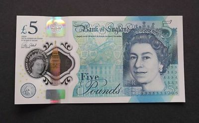 £5 5 Pounds Five Pound English Bank Of England GEM UNC Polymer Banknote