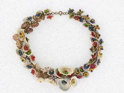 Early Miriam Haskell Collar Necklace- Colorful Shells and Stars (NK1650)