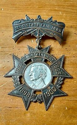 1861-1900 Illinois State Fair Volunteers Pin Abraham Lincoln Advertising History
