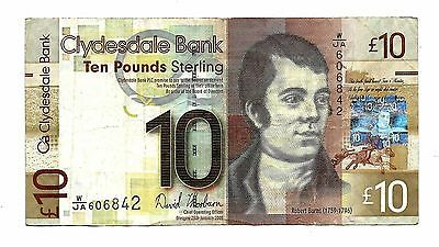 """""""Scotland 2009 Clydesdale Bank 10 Pounds Fine(F) Banknote"""""""