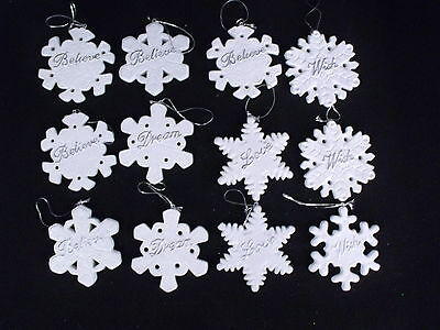"Ceramic Snowflake Christmas Ornaments ""believe Love Wish & Dream"" Set Of 12"