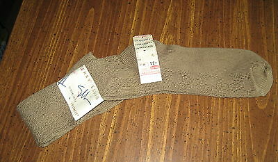 Vtg Knee High Socks Perry Ellis Tan cable Stretch Knit NEW w/tags School Girl
