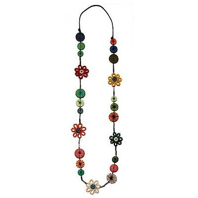 Unique Wooden Button and Yarn Flower Long Necklace