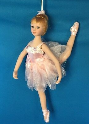 "6"" Poseable Porcelain Ballerina Doll / Christmas Ornament ~ Pink Tutu"
