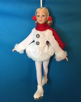 "6"" Poseable Porcelain Winter Ice Skater Doll / White Dress ~ Christmas Ornament"