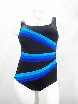 54a598555f0 Longitude Colorblock Banded Fan Tummy Control One Piece Swimsuit 16W Blue  NWT
