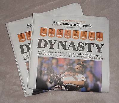 New San Francisco Chronicle Giants 2014 World Series Champions Newstand Copy