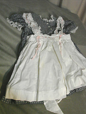 Vintage 50s Girls Childs Dress w Lace Pinafore Cotton Calico