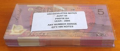 2005 $5 First Prefix Ba 05  Polymer Australia Bundle Of 100 Unc Notes C/v $2200